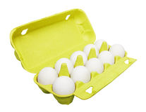 Cardboard egg box with eggs Royalty Free Stock Photos