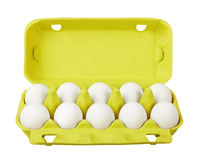 Cardboard egg box with eggs Stock Photography