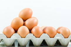 Cardboard egg box with  eggs Royalty Free Stock Images