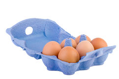 Cardboard egg box with six brown eggs Stock Image