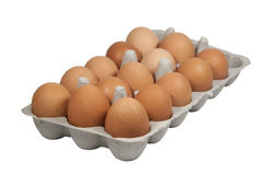 Cardboard Eggbox Filled with Freshly Laid Brown Eggs Stock Image