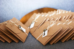 Cardboard envelopes lot. Cardboard envelopes, wrapped and with a key Stock Photo
