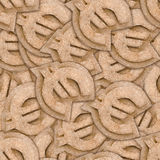 Cardboard euro sign seamless texture. Cardboard euro sign seamless pattern abstract background Stock Photography