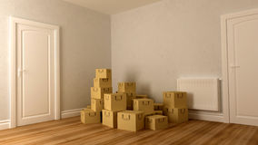 Cardboard on floor Royalty Free Stock Images