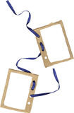 Cardboard frame for two photos with ribbon Royalty Free Stock Photo