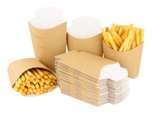Cardboard French Fry Take Away Scoops Royalty Free Stock Images