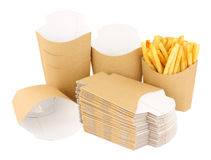 Cardboard French Fry Take Away Scoops Royalty Free Stock Photo