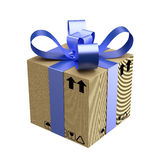 Cardboard gift box with blue ribbon Stock Image