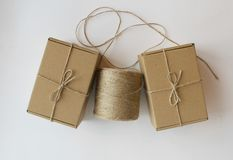 Cardboard gift boxes hank of rope royalty free stock photo