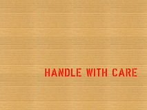 Cardboard / Handle with care Royalty Free Stock Photography