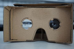 Cardboard headset for virtual reality with glass lenses Stock Photos