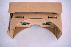Cardboard headset for virtual reality with glass lenses Royalty Free Stock Image