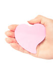 A cardboard heart is in a hand Royalty Free Stock Photography