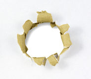 Cardboard hole Stock Photography