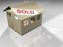 Cardboard house. On white background - 3d render Royalty Free Stock Images