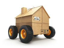 Cardboard house box with wheels isolated on white background. Mo. Ving, logistics and delivery concept. 3d illustration Stock Images