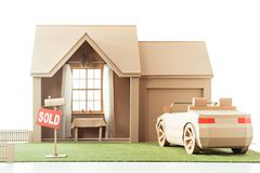 cardboard house and car with sign sold royalty free illustration