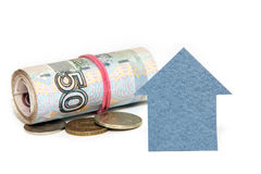 Cardboard houses and the Russian money on a white background Stock Image