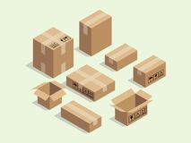 Cardboard isometric box for shipping packaging with various size package vector stock illustration