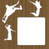 Cardboard Jumping People Frame Stock Photos