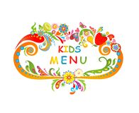 Cardboard for kids menu. Cardboard with fruits for kids menu Royalty Free Stock Images