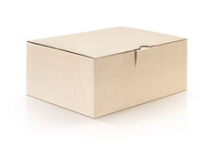 Cardboard kraft box open and isolated on white background Royalty Free Stock Photography