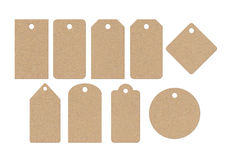 Cardboard labels. Differents forms of cardboard labels isolated on white background Royalty Free Stock Images