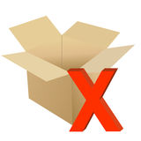 Cardboard with x mark. Illustration design isolated over a white background Stock Photos