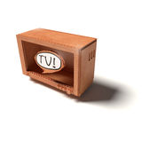 Cardboard model with TV Royalty Free Stock Image