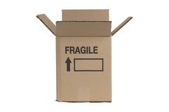 Cardboard moving box. With a fragile sign on a white background stock photography