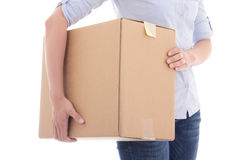 Cardboard moving box in female hands isolated on white Stock Image