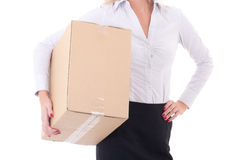 Cardboard moving box in female hands isolated on white Stock Photos