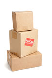 A cardboard moving box with a fragile sticker Stock Photo