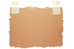 Cardboard note with tape. Cardboard with tape isolated on white Stock Image