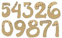 Cardboard numbers Stock Images