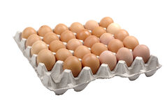 Cardboard package with eggs. Stock Images