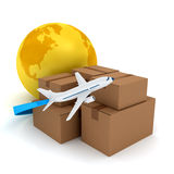 Cardboard packages with airplane over white Royalty Free Stock Image