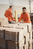 Cardboard packaging production Stock Photo