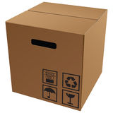 Cardboard packaging with symbols Stock Images