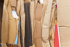 Cardboard packaging waste paper market pressed stack Stock Photos