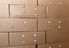 Cardboard packing boxes in a warehouse, background.  royalty free stock photos