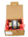 Cardboard packing for electronic spare parts Royalty Free Stock Photo