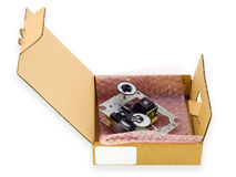 Cardboard Packing For Electronic Spare Parts Stock Photography