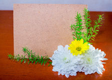 Cardboard page with flowers Stock Photography