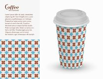 Cardboard paper cup of coffee and seamless pattern Stock Photos