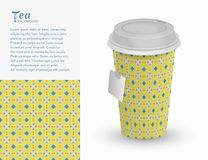 Cardboard paper cup of tea and seamless pattern Royalty Free Stock Images