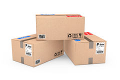 Cardboard Parcel Package. 3d Rendering. Cardboard Parcel Package on a white background. 3d Rendering Stock Photo
