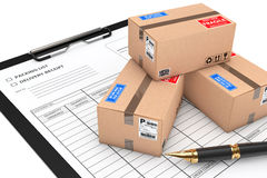 Cardboard Parcel Package over Delivery Note. 3d Rendering Stock Images