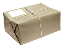 Cardboard parcel parcel tied with string Royalty Free Stock Photos