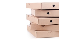 Cardboard  pizza boxes Royalty Free Stock Photo